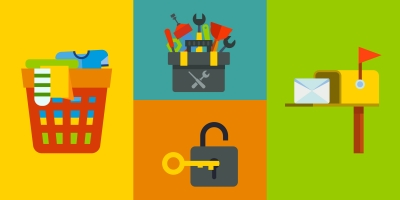 illustrations of laundry in hamper, toolbox, key in lock, and mailbox