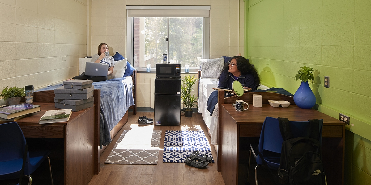 female students in a double room